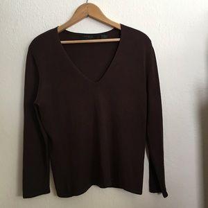 Express brown silk sweater